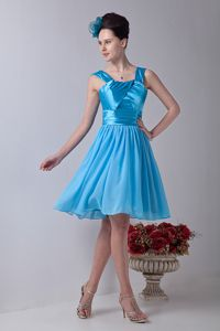 Knee-length Chiffon Aqua Blue Empire Straps Homecoming Dress with Ruches in Lakewood