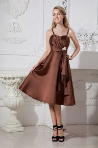 Spaghetti Straps Tea-length Satin and Organza Homecoming Dresses in Beading in Tyler