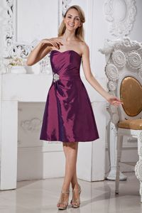 Knee-length Taffeta Dark Purple Sweetheart Homecoming Dresses with Appliques in Waco