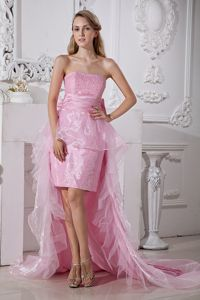 Baby Pink Strapless High-low Taffeta and Organza Homecoming Dress in Beading in Vista