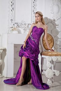 High-low Taffeta Sweetheart Homecoming Dress with Hand Made Flowers and Beading in Katy