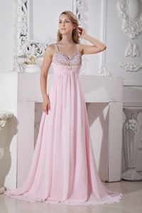 Beaded Straps Chiffon Light Pink Junior Homecoming Dresses with Gold and Silver in Napa