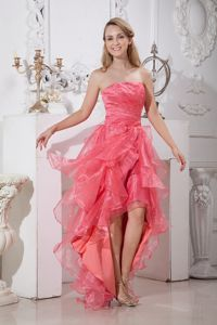 Strapless High-low Elastic Woven Satin Homecoming Dress with Ruffles and Beading in Waco