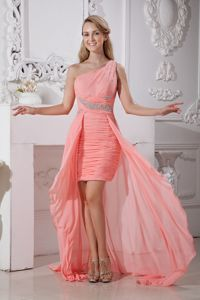 High-low Chiffon Watermelon Red Inexpensive Homecoming Dresses in Beading in Telluride