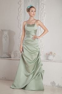 Apple Green Column Straps Brush Train Satin Homecoming Dresses in Beading from Katy