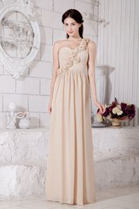 One Shoulder Champagne Empire Homecoming Dress with Hand Made Flowers from Napa
