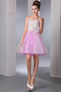 Colorful A-line Sweetheart Mini-length Cute Homecoming Dresses with Appliques from Waco