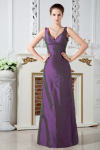 Purple Column V-neck Ruched Floor-length Homecoming Dresses in Taffeta from Durango
