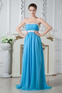 Strapless Chiffon Blue Beaded Inexpensive Homecoming Dresses in Brush Train from Tyler