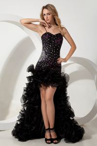A-line Straps High-low Black Organza Junior Homecoming Dresses in Beading from Vista