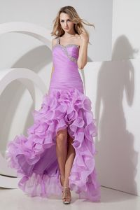 One Shoulder Lavender Organza Beading Tight Homecoming Dresses in High-low in Bend