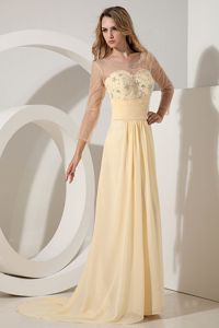 Empire Scoop Light Yellow Brush Train Chiffon Homecoming Dresses in Beading in Tulsa