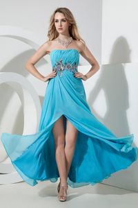 Aqua Empire Strapless Sequins Floor-length Cute Homecoming Dresses in Chiffon in Cary