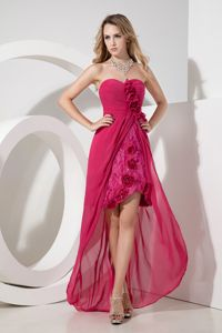 Sweetheart High-low Hot Pink Evening Homecoming Dress Chiffon and Lace from Denton