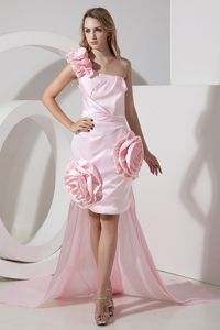 Hi-Lo Baby Pink One Shoulder Homecoming Dress with Hand Made Flowers from Victoria