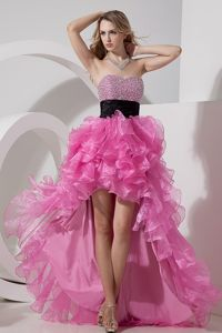 High-low Organza Rose Pink Sweetheart Homecoming Dresses with Beading from Midland