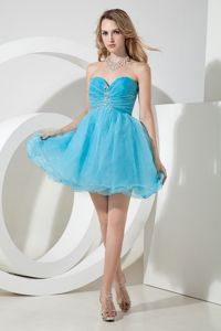 Aqua Blue Sweetheart Mini-length Organza Homecoming Dresses in Beading from Bend