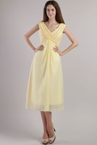 Empire V-neck Ankle-length Light Yellow Homecoming Court Dresses in Chiffon in Midland