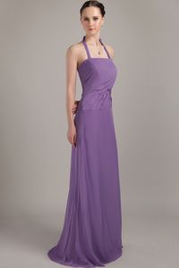 Halter Brush Train Purple Column Chiffon Cute Homecoming Dresses with Ruches in Cary