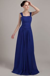 Square Brush Train Royal Blue Empire Chiffon Homecoming Dresses with Ruches in Tulsa