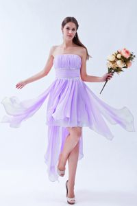 Lilac Empire Strapless Asymmetrical Chiffon Homecoming Dresses with Beading from Taos