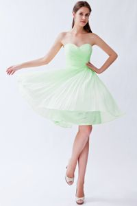Chiffon Pleats Light Green Empire Sweetheart Homecoming Dress in Knee-length in Bend