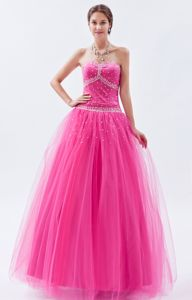 Hot Pink Sweetheart Tulle Beaded Junior Homecoming Dresses in Floor-length from Midland