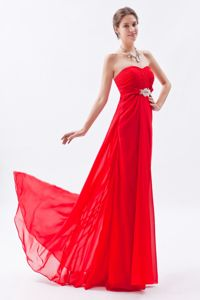 Chiffon Beaded Red Empire Strapless Homecoming Princess Dresses in Brush Tran in Cary