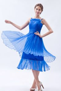 Blue Empire Straps Prom Dress Organza Vintage Homecoming Dresses in Ruches from Acton