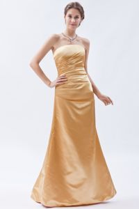 Champagne Strapless Satin Ruched Designer Homecoming Dresses in Floor-length in Troy