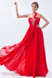 Floor-length Chiffon One Shoulder Red Homecoming Dance Dresses in Beading from Biloxi