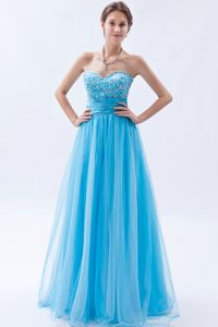 Beaded Floor-length Baby Blue Sweetheart Cute Homecoming Dresses in Tulle from Duluth