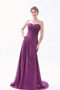 Sweetheart Brush Train Chiffon Dark Purple Empire Homecoming Dress in Ruches in Ames