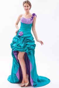 Teal and Lavender High-low Beaded Homecoming Dress with Hand Made Flowers in Biloxi