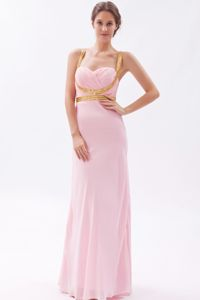 Straps Chiffon Sequins Floor-length Homecoming Princess Dresses in Baby Pink in Joplin