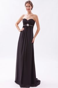 Sweetheart Prom Black Chiffon Beaded Evening Homecoming Dress in Brush Train in Acton