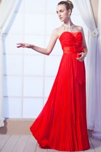 Strapless Floor-length Red Empire Designer Homecoming Dresses with Ruches from Ames