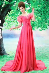 Bubble Sleeve Coral Red Beaded V-neck Evening Homecoming Dress in Stylish in Decatur