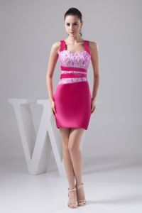 Beaded and Lace Accent Prom Tight Homecoming Dresses in Hot Pink from Bridgeport