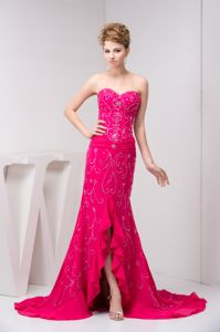 Beaded and Flounced Chiffon Prom Junior Homecoming Dresses in Hot Pink in Fairfield