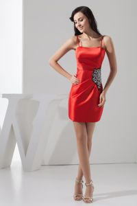 Mini-length Red Prom Homecoming Dress with Beading and Spaghetti Straps in Fairfield