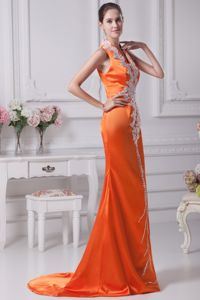 Orange Red V-neck Brush Train Vintage Homecoming Dresses with White Appliques