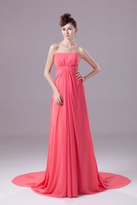 Beaded and Ruched Watermelon Chiffon Homecoming Queen Dresses with Watteau Train