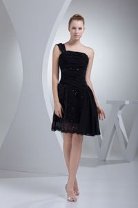 Tea-length Single Shoulder Black Junior Homecoming Dress with Ruches and Sequins