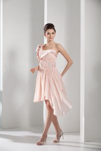Light Pink One Shoulder Asymmetric Homecoming Dresses with Ruching and Beading