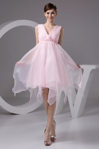 Puffy Pink Asymmetric V-neck Short Homecoming Dresses For Juniors in 2013