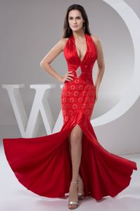 Beaded and Ruched Plunging Neckline Halter Red Homecoming Dresses with Slit