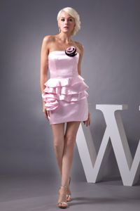 Flower and Ruffles Decorated Mini-length Pink Vintage Homecoming Dresses