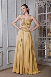 Gold Empire Strapless Floor-length Party Dress For Homecoming with Beads