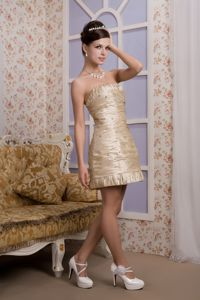 Strapless Mini-length Champagne Column Ruched Homecoming Dress in Liverpool?